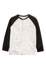 Henley shirt - Natural white/Black marl -  | H&M 2