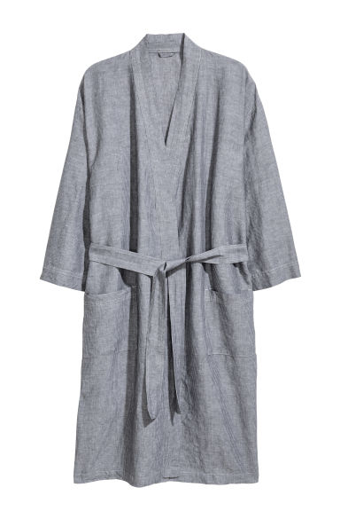 Peignoir en lin mélangé - Gris anthracite - HOME | H&M BE
