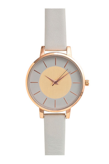 Watch with a leather strap - Light grey - Ladies | H&M CN 1