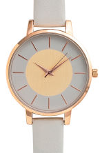 Watch with a leather strap - Light grey - Ladies | H&M CN 3