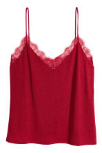 Tricot topje met kant - Bordeauxrood - DAMES | H&M BE 2