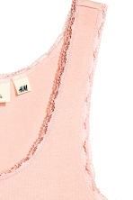 Lace-trimmed cotton vest top - Powder pink - Ladies | H&M CN 3