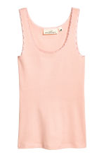Lace-trimmed cotton vest top - Powder pink - Ladies | H&M CN 2