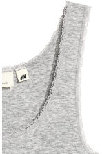 Lace-trimmed cotton vest top - Grey marl - Ladies | H&M CN 3