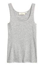 Lace-trimmed cotton vest top - Grey marl - Ladies | H&M CN 2