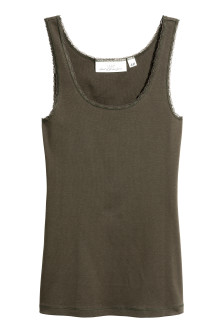 Lace-trimmed cotton vest top