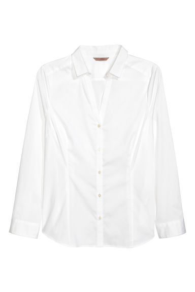 H&M+ V-neck shirt - White - Ladies | H&M