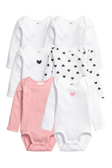 6-pack long-sleeved bodysuits
