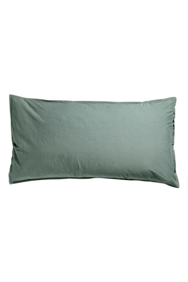 Washed cotton pillowcase - Khaki green -  | H&M CN 1