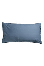 Washed cotton pillowcase - Dark blue - Home All | H&M CA 1