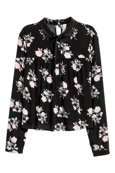 Blouse with a lace collar - Black/Floral -  | H&M