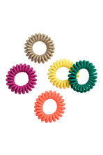 5-pack hair elastics - Coral/Multicoloured - Ladies | H&M 1