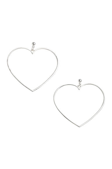 Heart-shaped earrings - Silver - Ladies | H&M 1