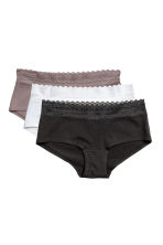 Set van 3 slips - Shortie - Taupe/wit - DAMES | H&M BE 2