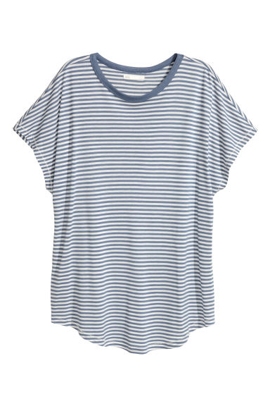 Top with cap sleeves - Blue/White striped -  | H&M
