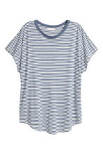 Top with cap sleeves - Blue/white striped - Ladies | H&M CA 1