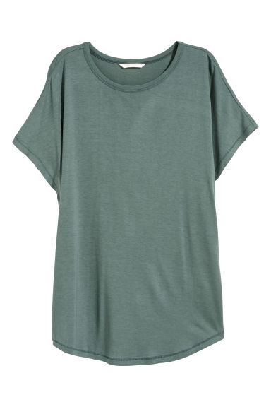 Top with cap sleeves - Petrol - Ladies | H&M
