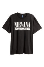 T-shirt met print - Zwart/Nirvana - HEREN | H&M BE 2