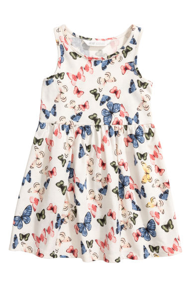 Sleeveless jersey dress - White/Butterflies - Kids | H&M CN 1