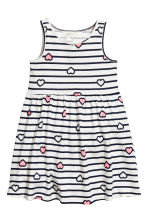 Sleeveless jersey dress - White/Dark blue/Striped - Kids | H&M CA 2