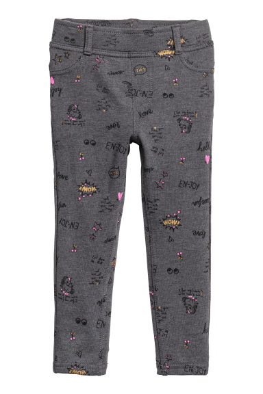 Jersey treggings - Dark grey/Patterned - Kids | H&M CN 1