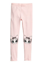 Jersey leggings - Light pink/Cat - Kids | H&M CA 2