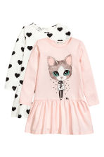 2-pack jersey dresses - Light pink/Cat - Kids | H&M 2