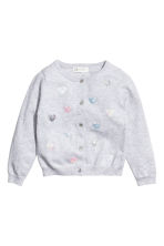 Sequined cotton cardigan - Light grey/Heart - Kids | H&M CN 2