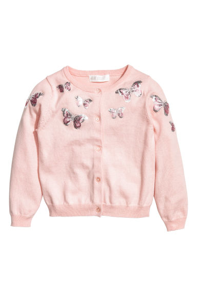 Sequined cotton cardigan - Light pink/butterflies - Kids | H&M CA 1