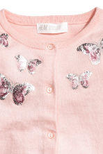 Sequined cotton cardigan - Light pink/butterflies - Kids | H&M CA 2