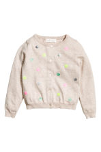Sequined cotton cardigan - Light beige/Spotted - Kids | H&M CN 2