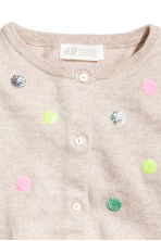 Sequined cotton cardigan - Light beige/Spotted - Kids | H&M CN 3