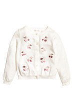 Sequined cotton cardigan - Natural white/Cherry - Kids | H&M CN 2