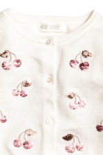 Sequined cotton cardigan - Natural white/Cherry - Kids | H&M CN 3