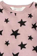 Fine-knit jumper - Old rose/Stars - Kids | H&M 3