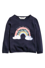 Fine-knit jumper - Dark blue/Rainbow -  | H&M 2