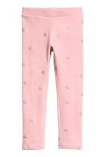 Sturdy jersey leggings - Light pink/Spotted - Kids | H&M CN 1