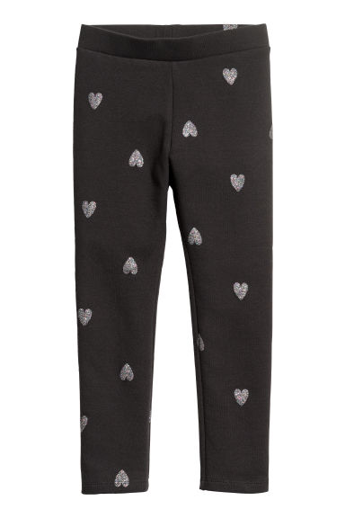 Sturdy jersey leggings - Black/Hearts - Kids | H&M