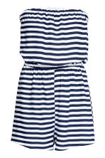 Strapless playsuit - White/Dark blue/Striped - Ladies | H&M CN 2