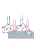 2-pack crop tops - White/Unicorn -  | H&M CA 1