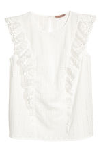 H&M+ Embroidered Cotton Blouse - White - Ladies | H&M CA 2