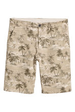 Knee-length cotton shorts - Light beige/Palms - Men | H&M 2