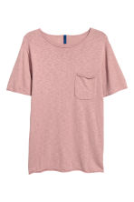 Fijngebreid katoenen T-shirt - Oudroze - HEREN | H&M BE 2