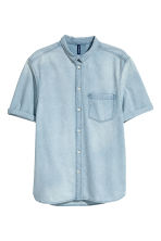 Short-sleeved denim shirt - Light denim blue - Men | H&M CN 2