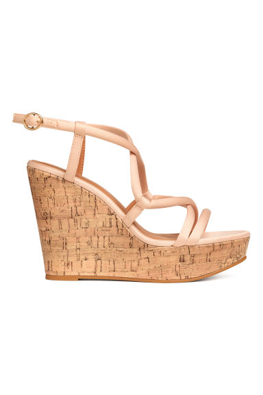 Wedge-heel sandals - Powder beige - Ladies | H&M GB
