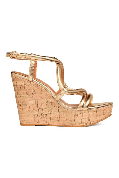 Wedge-heel sandals - Gold - Ladies | H&M 1