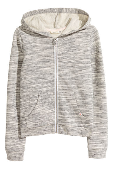 Hooded jacket - Natural white marl - Kids | H&M 1