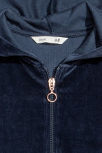 Hooded jacket - Dark blue/Velour - Kids | H&M 3