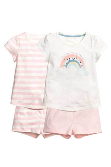 2套入平紋睡衣套裝 - Lt.pink/White stripe - Kids | H&M 1