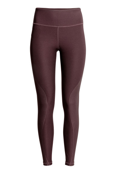 Sports tights - Burgundy/Metallic stripes - Ladies | H&M